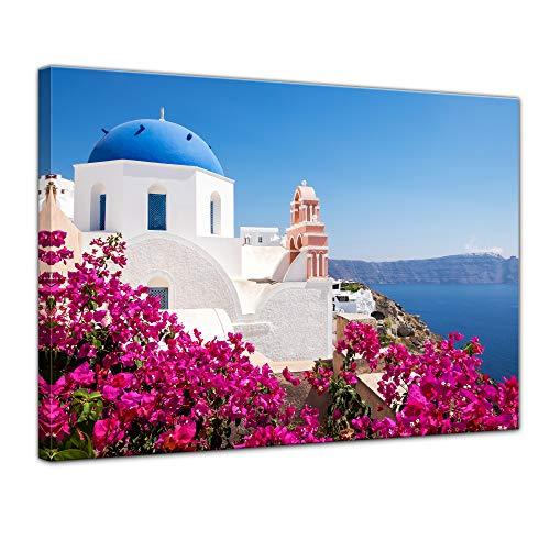 Bilderdepot24 Bild auf Leinwand | Firá - Santorini | in 50x40 cm als Wandbild | Wand-deko Dekoration Wohnung modern Bilder | 211494