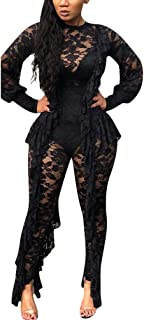 IyMoo Sexy Jumpsuits for Women Clubwear - Lace Bodysuit See Through Mesh Long Sleeve Romper Clubwear Ruffle Long Pants Suit