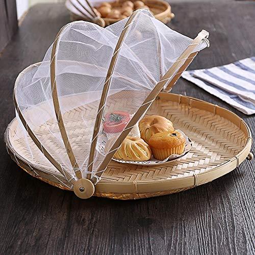 WUYANSE Cesta de la Tienda de Comida Tejida a Mano Cubierta de Comida Plegable Tienda de campaña Cúpula de Paraguas de Malla para Nuestros picnics de Interior Eventos de Interior con Gasa