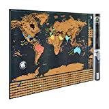 Polly Online 1 Landmass PCS Scratch Off World Map Poster Craft Paper Decor Home, The Wall Tar Vintage For Travel x59cm 82,5 Map
