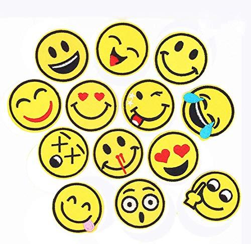 Lezed Smiley Patches DIY Kleidung Patches Smiley Aufkleber Emoji-Expression Applizieren Aufnäher Niedlich Patches Aufkleber Sommer-Thema für T-Shirt Jeans Kleidung Taschen(26 Stück)