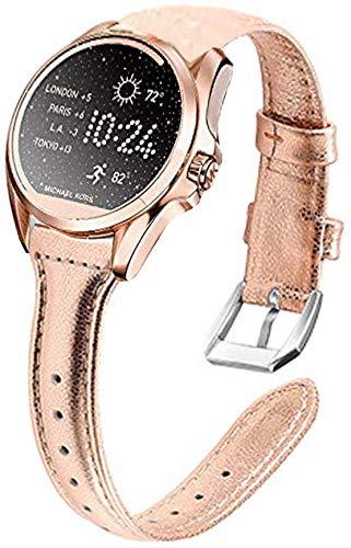 LvBu Armband Kompatibel mit Michael Kors Bradshaw, Quick Release Leder Classic Ersatz Uhrenarmband für Michael Kors Access Bradshaw Smartwatch (Roségold)