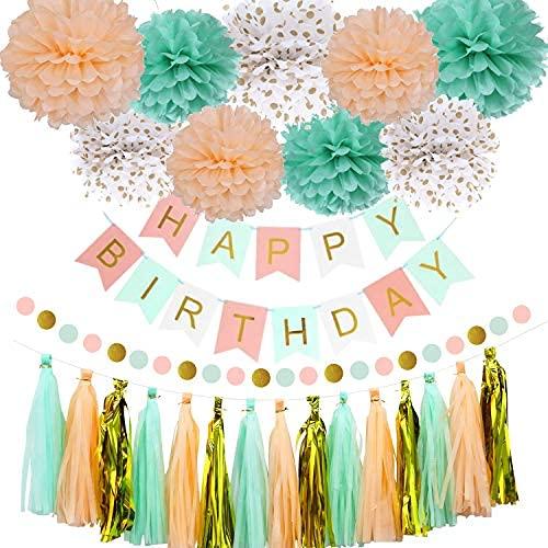 Decoración de fiesta de cumpleaños de la pesca de la menta para las mujeres niñas, menta verde melocotón feliz fiesta de cumpleaños decoración suministros ...