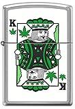 King of Pot Cannabis Poker Playing Card Satin Chrome Novelty Zippo Lighter