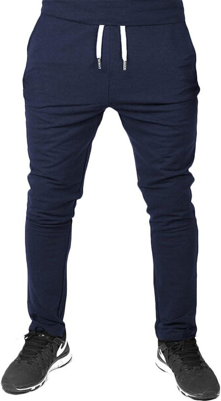 Men's Linen Cotton Loose Fit Casual Lightweight Elastic Waist Summer Pants Sweatpants Trousers (Large,Navy Blue)