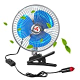 Zmoon Car Fan Car Cooling Fan 24V 8in Rotatable Car Cooling Fan Powerful Quiet Ventilation Electric Car Fans with Adjustable Clip & Cigarette Lighter Plug for Van/SUV/RV/ATV