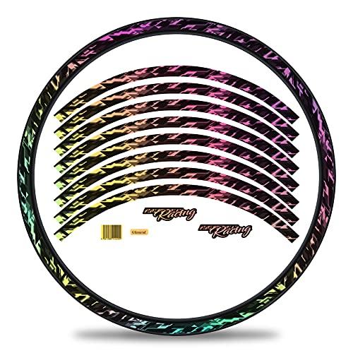 Finest Folia Juego de 16 adhesivos para llantas de bicicleta, diseño Future Design, juego completo para bicicleta de carreras, de montaña, de montaña, de paseo, de color plateado brillante