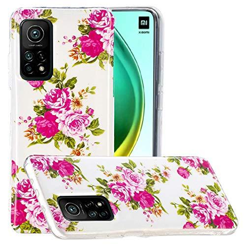 Miagon Leuchtend Luminous Hülle für Xiaomi Mi 10T,Fluoreszierend Licht im Dunkeln Handyhülle Silikon Case Handytasche Stoßfest Schutzhülle,Rose Blume