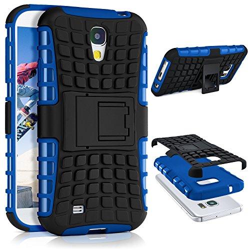 ONEFLOW® Tank Case kompatibel mit Samsung Galaxy S4 Outdoor Hülle | Panzer Handyhülle mit Ständer - 360 Grad Handy Schutz aus Silikon & Kunststoff, Blau
