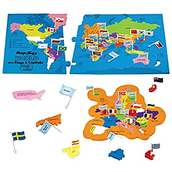 Imagimake  Mapology World with Flags & Capitals- with Country Shaped Pieces- Jigsaw Puzzle and Educational Toy for Boys and Girls Above 5 Years- Excellent Birthday Gift