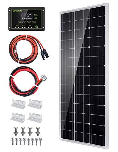 Topsolar Solar Panel Kit 100 Watt 12 Volt Monocrystalline Off Grid System for Homes RV Boat + 20A 12V/24V Solar Charge Controller + 16ft Solar Cables + Z-Brackets for Mounting