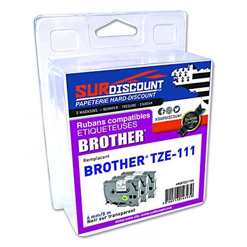 Lote de 3 cintas compatibles con Brother TZE-111 6 mm/8 m, plástico negro sobre transparente