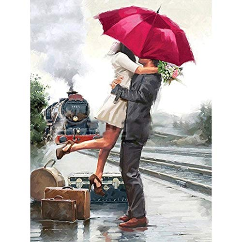 xdai Adult Painting by Numbers Kits For Kids Beginner DIY,Suitcase red umbrella couple,Canvas Home Wall Room Decoration Frameless Christmas Halloween -40x50cm