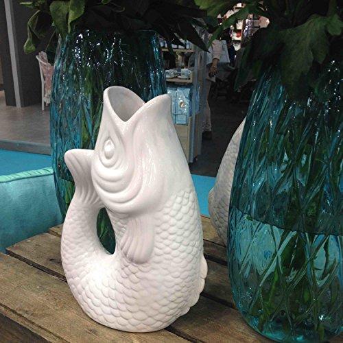 Gift Company 75885 Monsieur Carafon - Karaffe/Blumenvase - Fischform - Steingut - weiß - L