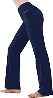 HISKYWIN Inner Pocket Yoga Pants 4 Way Stretch Tummy Control Workout Running Pants, Long Bootleg Flare Pants
