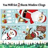 Yuson Girl Weihnachten Aufkleber Fenster Weihnachtsmann Elch Schneemann Abnehmbare Weihnachten Deko Wandtattoo Weihnachten Statisch Haftende PVC Aufkleber - 4