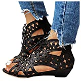 Aniywn Women's Hollow Out Heeled Lace-up Sandals Peep Toe Low Wedge Sandals Casual Summer Breathable Strappy Sandals Black