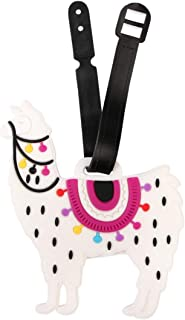 Cute Animal Travel Bag Luggage Name Tag ID Labels - Suitcase Identification Label Holder Alpaca, Llama, Panda, Unicorn (Llama - White)