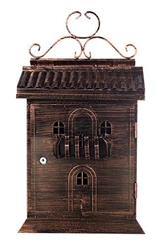 Sarah B XXL Antiker großer edler Briefkasten LB 6027 Bronze Wandbriefkasten, Englischer Briefkasten Alu - Guss 60cm hoch großer Briefschlitz