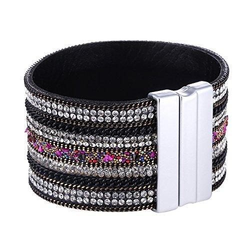 Morella Damen Glitzerarmband breit verziert mit Zirkoniasteinen und Magnetverschluss weiß bunt