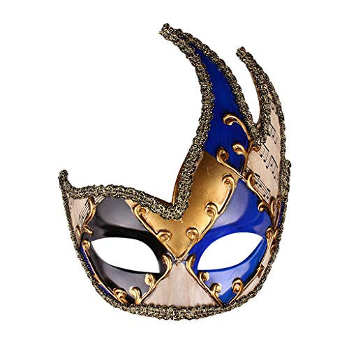Yanhoo Halloween Maske Herren Maskerade Maske Vintage venezianische Karierte musikalische Party Mardi Gras Maske Halloween Masken Fasching Festival Party Halloween Accessoires Vintage Antiquität Mask