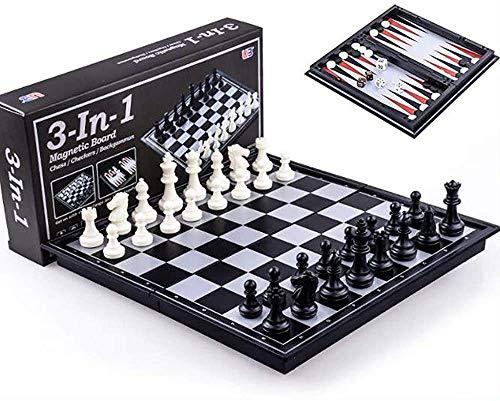 Juego de ajedrez Juegos Viajes Adultos Niños Tablero Ajedrez Chess Checkers Backgammon 3 en 1 Juego de aprendizaje de ajedrez Juegos de viaje al aire libre Juegos de viaje plegable Tablero de ajedrez