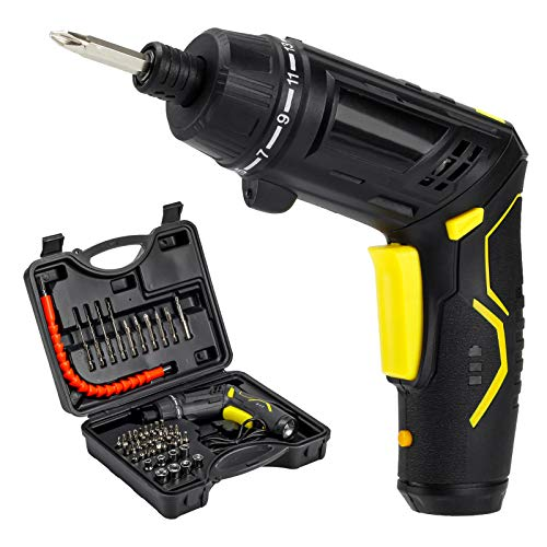 49pcs Cordless Electric Screwdriver Kit, 3.6V 4.5Nm Torque 2.0Ah Battery USB Rechargeable Power Screw Driver Set with bits, Portable Wireless Handheld Smart Precision Small Mini Hand Drill Screw Gun