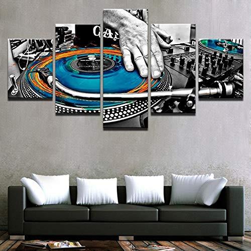 HNTHBZ Moderna Lienzo Pintura Arte de Pared Imágenes de decoración de 5 Piezas de Mano de Placas Pinturas de la música de DJ Consola de Instrumentos de la Tela del Club la Noche Impresiones