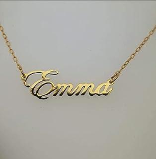 b000a3a29534 Nombre Personalizado elaborado artesanalmente en Laminado de oro 14k con  cadenita