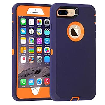Co-Goldguard Case for iPhone 7 Plus/8 Plus Heavy Duty 3 in 1 Built-in Screen Protector Durable Cover Dust-Proof Shockproof Scratch-Resistant Shell Compatible with iPhone 7+/8+ 5.5,Navy Blue&Orange