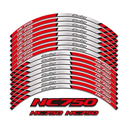 Calcomanía de la Rueda de la llanta Exterior de la Motocicleta Pegatinas Reflectantes para Honda NC750 NC750S NC750X NC 750S / X 2014-2019 (Color : Red)