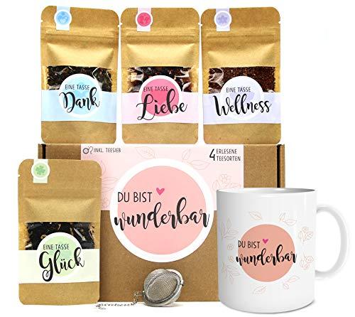 Du bist wunderbar Tee Geschenk-Set mit 4 verschiedene Sorten & Tee-Ei und Tasse mit Namen personalisiert Geschenkidee mit liebevoller Botschaft