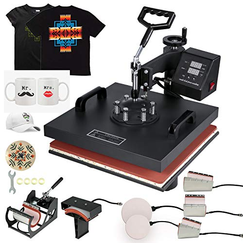 Mophorn Heat Press 15x15Inch 8pcs Heat Press Machine Multifunctional Sublimation Dual LED Display Heat Press Machine for t Shirts Swing Away Design (15X15Inch, 8IN1 Presser)