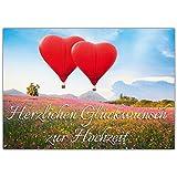 A4 XXL Hochzeitskarte HERZ-BALLONS mit Umschlag - edle Glückwunschkarte zum Aufklappen mit romantischem Motiv zur Hochzeit - Maxikarte von...