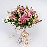 REGALAUNAFLOR-Ramo de lilium rosa-FLORES NATURALES- ENVIO EN 24 HORAS DE MARTES A SABADO-FLORES FRESCAS