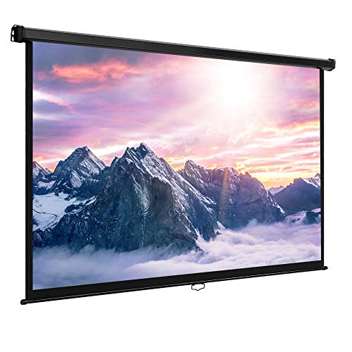 VonHaus 80 Inch Projector Screen - Manual Pull Down - 80' Widescreen Indoor Home Theater / Cinema Platform - 16:9 Aspect Ratio Projection Screen - Suitable For HDTV / Sport / Movie / Gaming