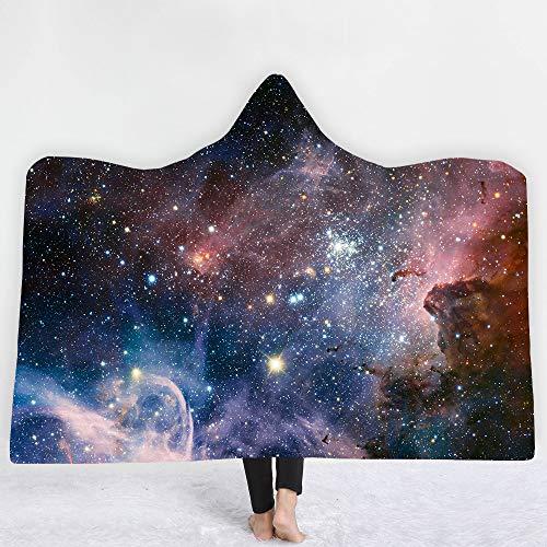DFTY Decke mit Kapuze, Stern, für Erwachsene, weiche Decke, tragbar, 3D-Druck, warm, tragbar (40,150 x 200 cm)