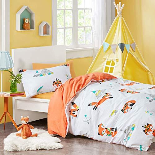 SCM Kinder Bettwäsche 135x200cm Orange 100% Baumwolle 2-teilig Bettbezug Kopfkissenbezug 50x75cm mit Fuchs Renforcé Mädchen Jugendliche Teenager Kinderbett Friendly Fox