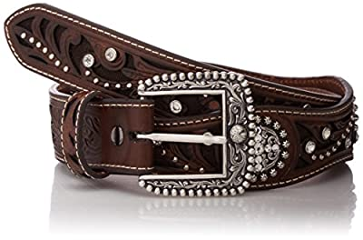 Ariat Women's Filagree Scalop Circle Concho Belt, brown, Extra Large