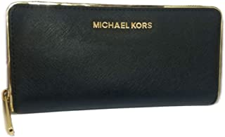 Michael Kors Saffiano Frame ZA Continental Leather Wallet Black