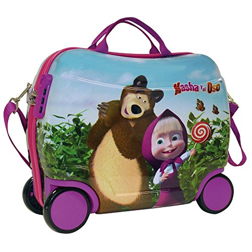 Masha e Orso in The Wood 4731051 Trolley Cavalcabile, 25 litri, ABS, Rosa