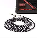 VOARGE - Cable de 3m para instrumentos, 6,3 mm, protección acústica, clavija angulada y 1 conector estándar para guitarra eléctrica, bajo,...