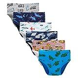 Boboking Little Boys Briefs Dinosaur Truck Toddler Kids Underwear (Pack of 6) 5/6Y Blue