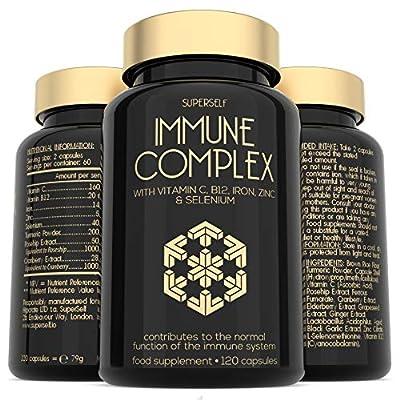 Immune Booster - Immune System Support Supplement - 120 Capsules - Vitamins C & B12, Zinc, Probiotics, Iron, Selenium, Elderberry, Turmeric, Herbal Extracts - Vegan Multivitamin Complex for Men Women