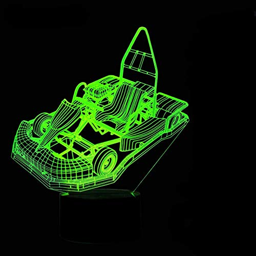 3D Led Creative Home Decor Nachtlicht Go-Kart Modellierleuchten 7 Farbwechsel Karting Car Kids Touch Button Tischlampe