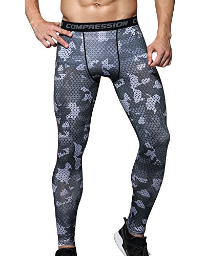ZhuiKun Hombres Compresión Leggings Camuflaje Polainas Apretadas Larga Deportes Pantalones L