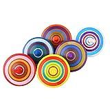 VABNEER Kreisel aus Holz 6 Stück mit farbenfroher Bemalung Kreisel