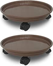 JzNova 2 Pack of Plant Pallet Caddy with Wheels, Round Flower Pot Mover, Indoor Rolling Planter Dolly on Wheels, Outdoor Planter Trolley Tray Coaster, Brown (2 Pack)