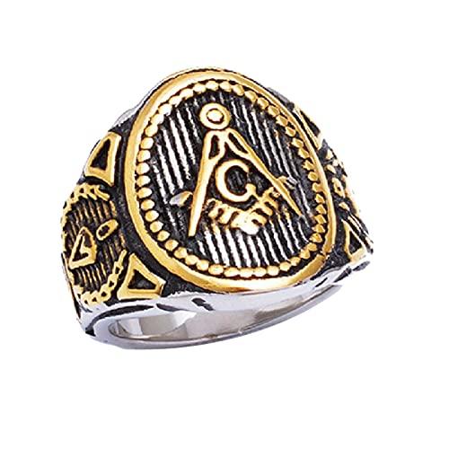 Freemason Mens Boys Gold Silver Color Free Mason 316L Anillo Masónico De Acero Inoxidable Joyería Para Hombres13