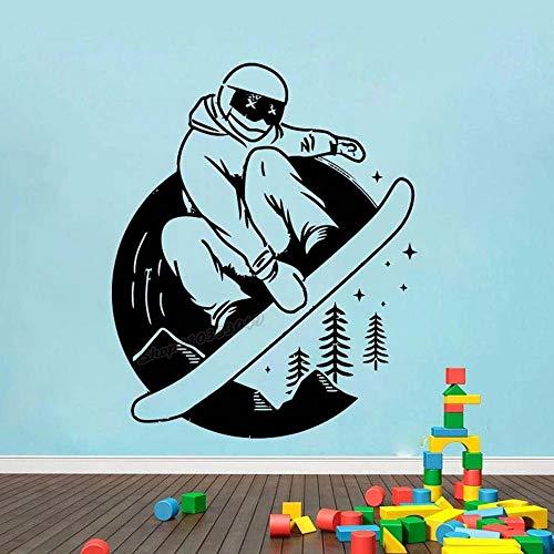Calcomanía de pared de snowboard, deportes de invierno, deportes extremos, tabla de motivación, pegatina de pared saludable, calcomanía de vinilo Art Deco para habitación de casa